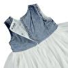 Summer Baby Girl Denim Detailed Short Sleeve Crew-Neck Dress