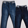 Basic Ribbed 2-Piece Denim Trousers