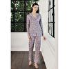 Uzun Kollu Desenli Gömlek Yaka Pijama Takımı