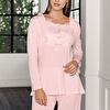 Uzun Kollu Geniş Kalıp Önü Detaylı Pijama Takımı