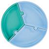Vakum Tabanlı Silikon Puzzle Tabak Mavi/Yeşil