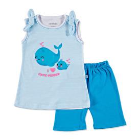 Summer Baby Girl Cute Whale Sleeveless Top Short 2 pcs Set