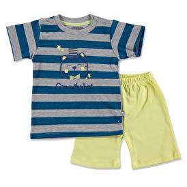 Summer Baby Boy Bowtie Cat Printed Interlock Short Sleeve T-shirt Short Set