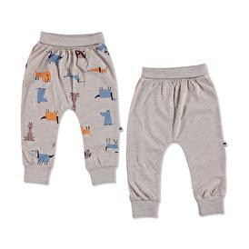 Summer Baby Boy Dog Printed Supreme Rib Trouser 2 pcs