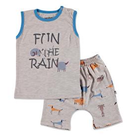 Summer Baby Boy Dog Printed Supreme Sleeveless Top Short 2 pcs Set