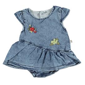 Summer Baby Girl Embroidered Detail Short Sleeve Crew-Neck Dress Bodysuit