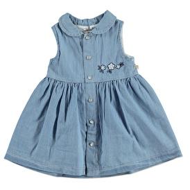Yaz Kız Bebek Önden Çıtçıtlı Denim Pamuklu Kısa Kol Bebe Yaka Elbise