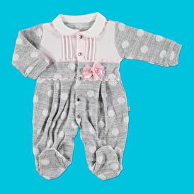 Bebek Jakarlı Puanlı Bebe Yaka İnterlok Patikli Tulum