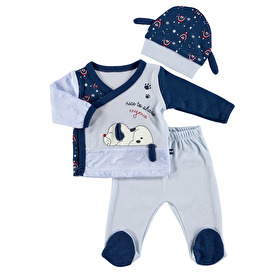 Puppy Baby Bodysuit Footed Pants Hat 3 pcs Set