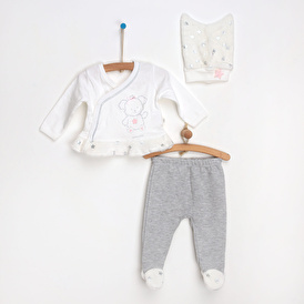 Star Baby Girl Velvet Bodysuit Footed Pants Hat Set 3 pcs