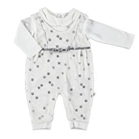 Yıldızlı Kız Bebek Kadife Bebe Yaka Sweatshirt Slopet Takım
