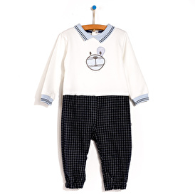 Knit Collar Detail Baby Footless Embroidered Romper