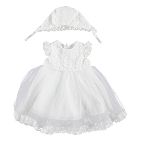 Baby Girl Special Day Dress Hat 2 pcs Set