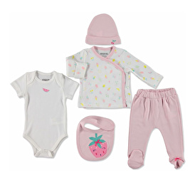 Summer Baby Sweet Fruits Bodysuit Hat Footed Pants Set