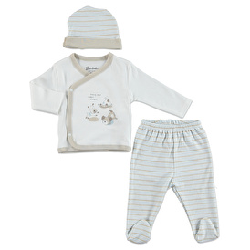 Summer Baby Boy Dogs Bodysuit Hat Pant 3 pcs Set