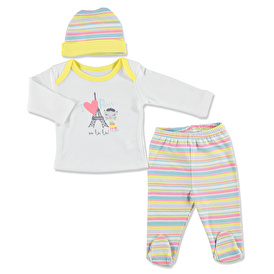 Summer Baby Girl Tourist Cat Bodysuit Hat Pant 3 pcs Set