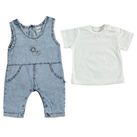 Summer Baby Boy Embroidered Cotton Short Sleeve T-shirt Jumpsuit Set
