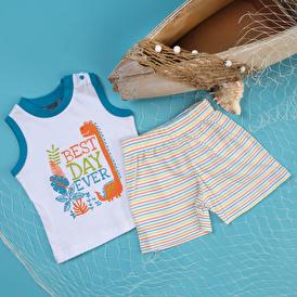 Summer Baby Boy Dino Island Supreme Short Sleeve T-shirt Short 2 pcs Set