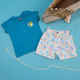 Summer Baby Boy Dino Island Poplin Short Sleeve T-shirt Short 2 pcs Set