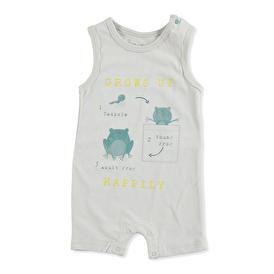 Summer Baby Boy Frog Single Jersey Singlet Coverstitch Crew Neck Single Overalls