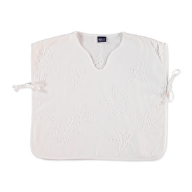 Muslin White Baby Poncho