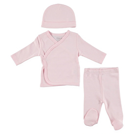 Organic Baby Snapsuit Hat Footed Pants 3 pcs Set