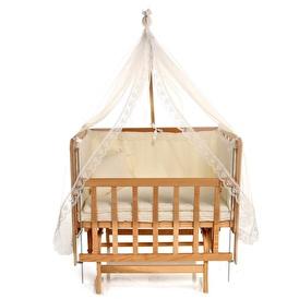 Doğal Anne Yanı Lara Asansörlü Uyku Setli Beşik 60x90 cm Krem