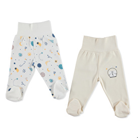 Winter Baby Boy Wide Foldable Comfortable Waist Footed Pants 2 pcs