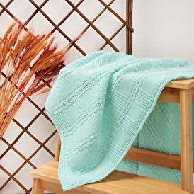 Winter Knit Baby Blanket - Blue
