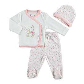 Baby Bow Rabbit Bodysuit Hat Footed Pant
