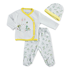Baby Floral Rabbit Bodysuit Hat Footed Pant