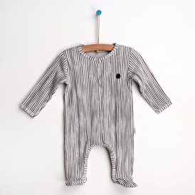Stripe Patterned Footed Romper