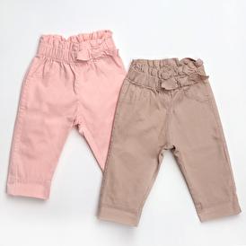Basic Kız Bebek 2li Gabardin Pantolon