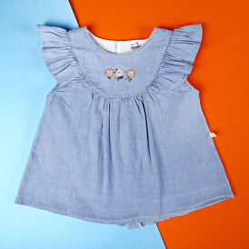 Babyz Denim Fırfırlı Çiçek Nakışlı Bluz