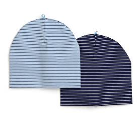 Çizgili Erkek Bebek 2li Şapka