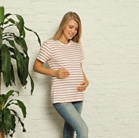 Babymom Çizgili Hamile Kısa Kol Tshirt