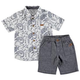 Summer Baby Boy Spotted Short Texture Shirt Set