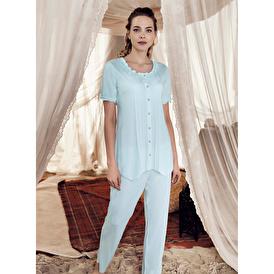 Kısa Kollu Geniş Kalıp Önü Düğmeli Pijama Takımı