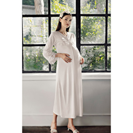 Long Sleeve Wide Fit Lace Detail Nightdress