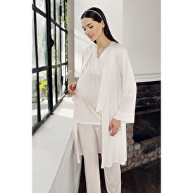 Lezli Lace Maternity Dressing Gown Pajama Set Maternity Set