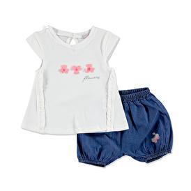 Yaz Kız Bebek Flowers Tshirt-Şort 2li Takım