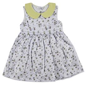 Yaz Kız Bebek Poplin Atlet Bebe Yaka Elbise
