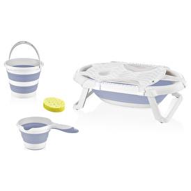 Foldable Baby Bathtub Set Gray