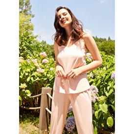 Pamuklu İp Askılı Pijama Takımı