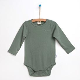 Organik Çizgili Düz Renk Uzun Kol Bebek Body