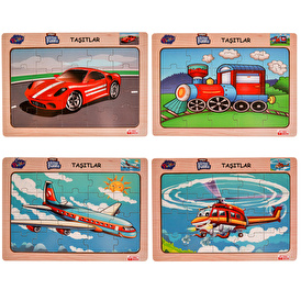 Wooden Vehicles Educational Puzzle Set of 4