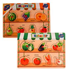 Wooden Handle Fruits and Vegetables Set of 2