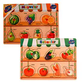 Ahşap Tutmalı Meyveler ve Sebzeler 2'li Set