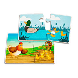 Yavru hayvanlar ve anneler eşleştirme kartları