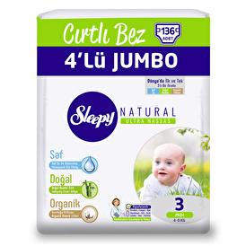 Natural Midi 3 Beden 4'lü Jumbo Bebek Bezi 4-9 kg 136 Adet